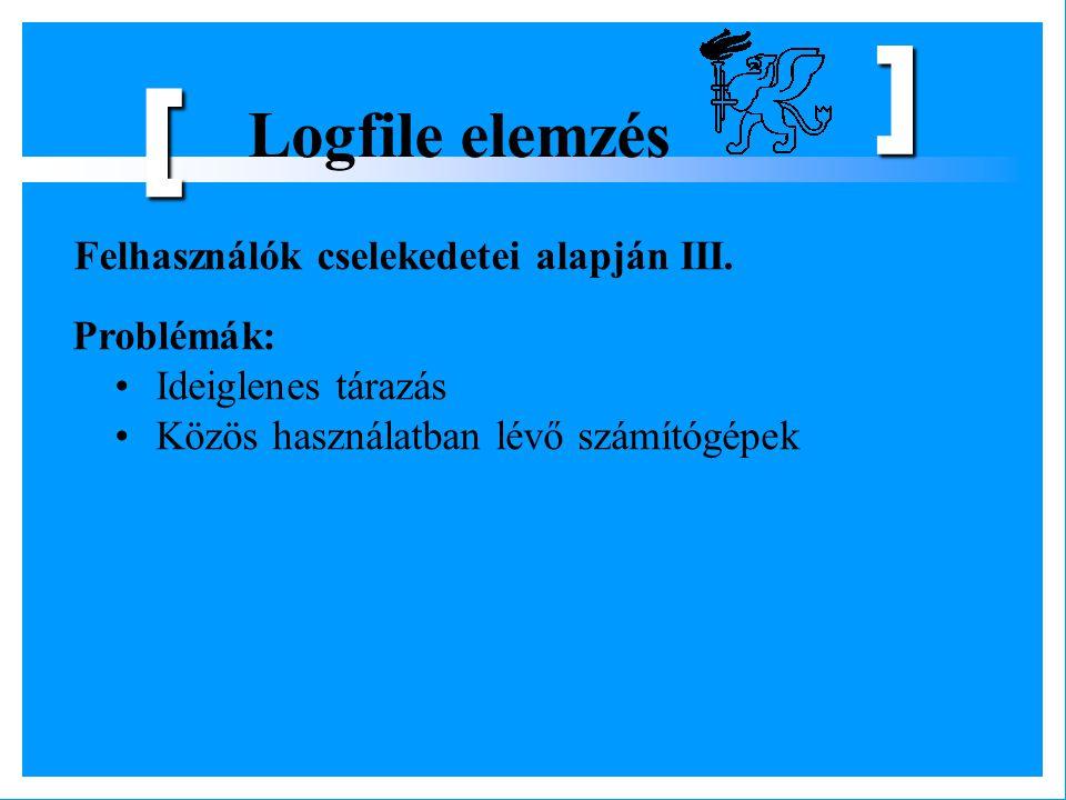 [ Logfile elemzés Felhasználók cselekedetei alapján III. Problémák: